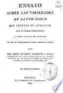 Ensayo sobre las variedades de la vid común que vegetan en Andalucía