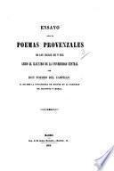 Ensayo sobre los Poemas Provenzales de los siglos XII y XIII, etc