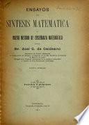Ensayos de síntesis matemática y nuevo metodo de enseñanza matemática