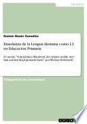 Enseñanza de la Lengua Alemana como L3 en Educación Primaria
