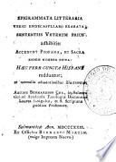 Epigrammata litteraria versu endecasyllabo exarata