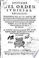 Epitome del orden ivdicial religioso