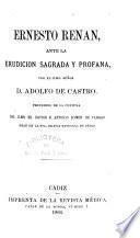 Ernesto Renan ante la erudición sagrada y profana