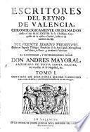Escritores Del Reyno De Valencia