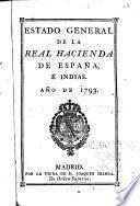 Estado general de la Real hacienda de España e Indias