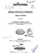 Estética e historia crítica de la literatura desde su origen