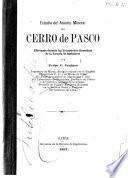 Estudio de asiento mineral del Cerro de Pasco, efectuado durante las excursiones científicas de la Escuela de Ingenieros