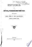 Estudios de critica y pedagogia matemáticas