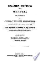 Examen critico de la memoria del Ministerio de Negocios Eclesiasticos... del Patronato