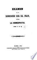 Examen de las lecciones del Dr. Frau contra la homeopatia. Por V.
