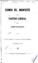 Examen del manifiesto del Partido Liberal
