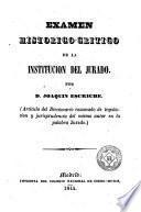 Examen histórico-crítico de la institución del jurado