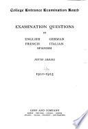 Examination Questions in English, German, French, Italian, Spanish