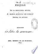 Exequias de la serenisima señora d. Maria Antonia de Borbon princesa de Asturias