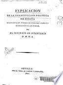 Explicacion de la constitucion política de España