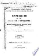 Exposición de los senadores interpelantes, leída en la última sesión del honorable Senado Nacional de 1902