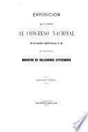Exposición que dirige al Congreso Nacional en sus sesiones constitucionales de 1903 el ciudadano Ministro de Relaciones Exteriores
