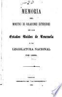 Exposición que dirige al Congreso Nacional en sus sesiones constitucionales de ... el ciudadano Ministro de Relaciones Exteriores