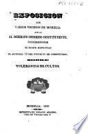 Exposicion que varios vecinos de Morelia elevan al soberano Congreso Constituyente, pidiendole se digne reprobar el artículo 15 del ptoyecto [sic]