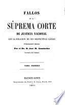 Fallos de la Suprema Corte de Justicia nacional, con la relación de sus respectivas causas