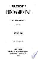 Filosofía fundamental ... Cuarta edicion