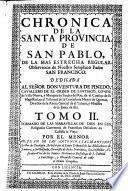 Francisco Descalzos En Castilla La Vieja, Chronica De La Santa Provincia De San Pablo ...