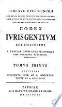 Frid. Aug. Guil. Wenckii Codex Iuris Gentium Recentissimi