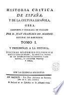 Historia critica de España, y de la cultura española, 1