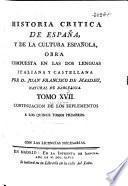 Historia crítica de España y de la cultura Española, compuesta en italiano y en español