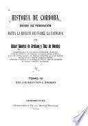 HISTORIA DE CORDOBA DESDE SU FUNDACION HASTA LA MUERTE DE ISABEL LA CATOLICA