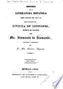 Historia de la literatura espanñola desde mediados del siglo XII hasta nuestros días