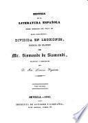 Historia de la literatura espanola desde mediados del siglo XII hasta nuestros dias