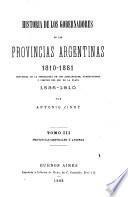 Historia de los gobernadores de las provincias argentinas desde 1810 hasta la fecha: Provincias centrales y andinas