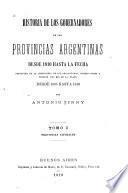 Historia de los gobernadores de las provincias argentinas desde 1810 hasta la fecha: Provincias litorales
