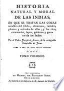 Historia natural y moral de las Indias