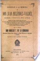 Homenaje á la memoria de Don Juan Meléndez-Valdés