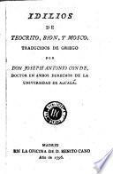 Idilios de Teocrito, Bion y Mosco