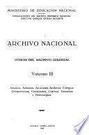 Indice del Archivo Colonial: Abastos, aduanas, alcabalas, archivos, colegios, competencias, consulados, correos, cruzadas y genealogías