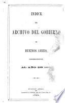 Indice del archivo del gobierno de Buenos Aires