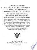 Indice ultimo de los Libros Prohidos y montados expurgar