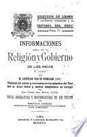 Informaciones acerca de la religión y gobierno de los Incas