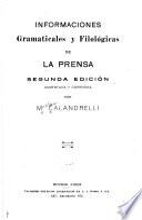 Informaciones gramaticales y filológicas de La Prensa