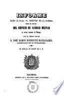 Informe dada al Ministro de la Guerra sobre el estado del Servicio de Sanidad Militar en varias naciones de Europa