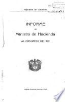 Informe del Ministro de Hacienda al Congreso