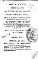 Instrucción sobre el arte de conservar los objetos de historia natural