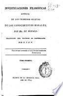 Investigaciones filosóficas acerca de los primeros objetos de los conocimientos morales