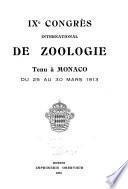 IXe Congrès international de zoologie