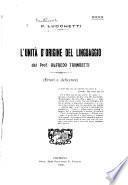 L'unità d'origine del linguaggio del Prof. Alfredo Trombetti: errori e deficienze [di] P. Lucchetti