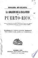 La abolicion de la esclavitud en Puerto-Rico