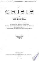 La crisis de 1890, 1891